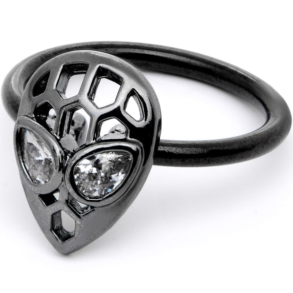 16 Gauge 3/8 Clear CZ Gem Black Openwork Alien Hinged Segment Ring
