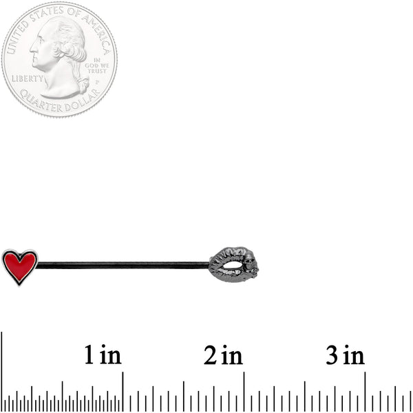 14 Gauge Red Heart Black Kiss of Death Industrial Barbell 38mm