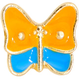 16 Gauge 1/4 Gold Tone Blue Orange Butterfly Cartilage Tragus Earring