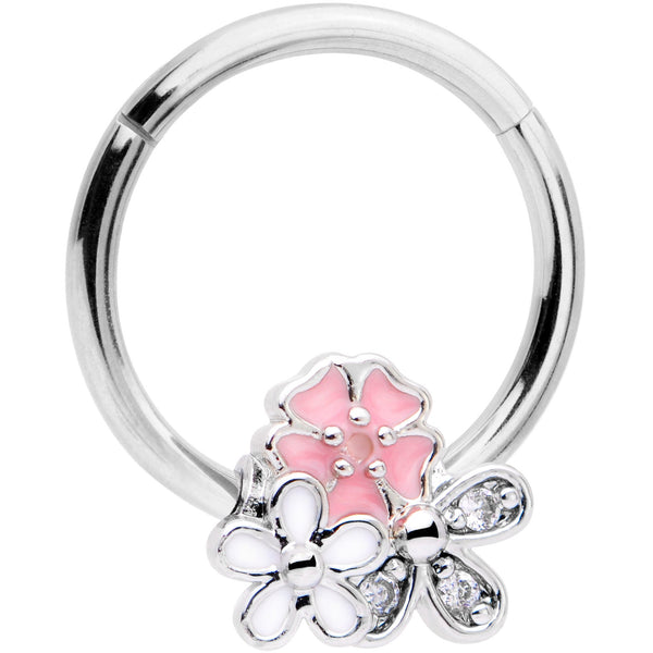 16 Gauge 3/8 Clear CZ Gem Pink White Bouquet Hinged Segment Ring