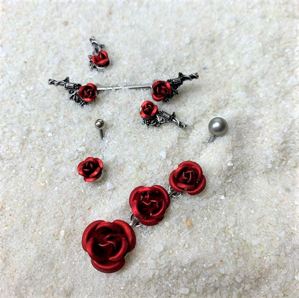 Single Flower Red Rose Belly Button Ring
