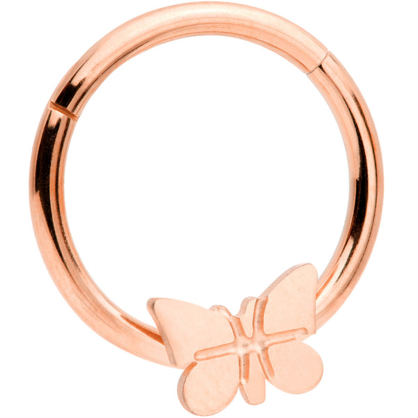16 Gauge 3/8 Rose Gold Tone Spring Butterfly Hinged Segment Ring