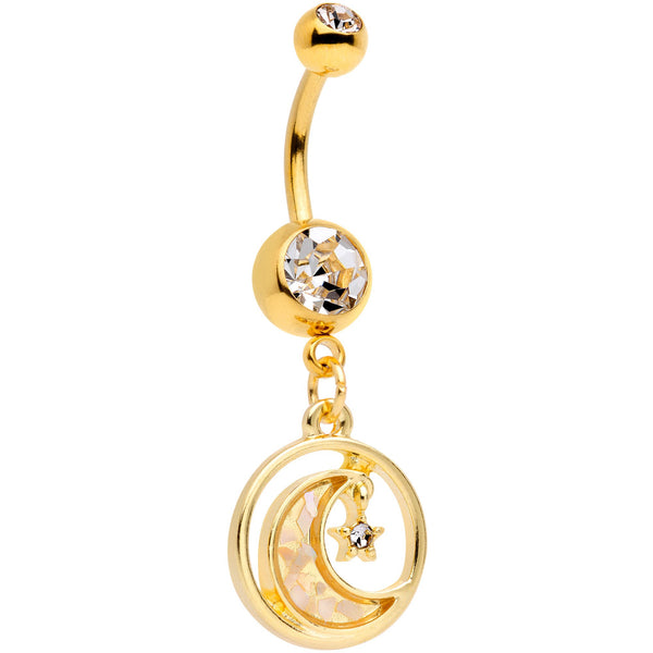 Clear Gem Gold Tone Crescent Moon Hanging Star Dangle Belly Ring