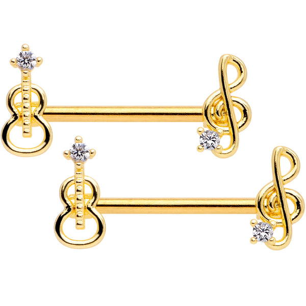 14 Gauge 9/16 Clear CZ Gold Tone Music Lover Barbell Nipple Ring Set