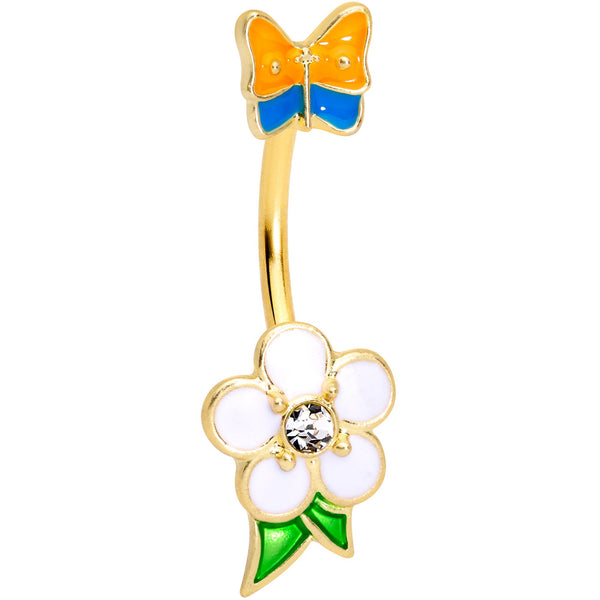 Clear Gem Gold Tone Spring Flower Butterfly Double Mount Belly Ring