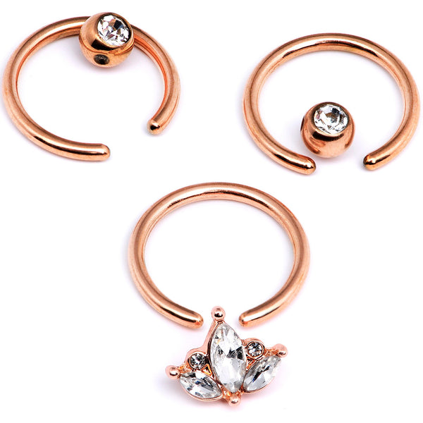 14 Gauge 0.51 inch Clear CZ Rose Gold Tone Crest BCR Captive Ring Set of 3