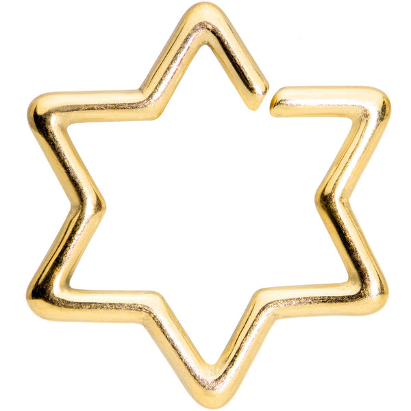 16 Gauge 5/16 Gold Tone Star of David Hexagram Closure Ring