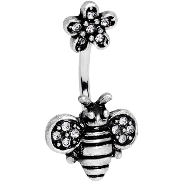 Clear Gem Bumble Bee Blossom Flower Double Mount Belly Ring