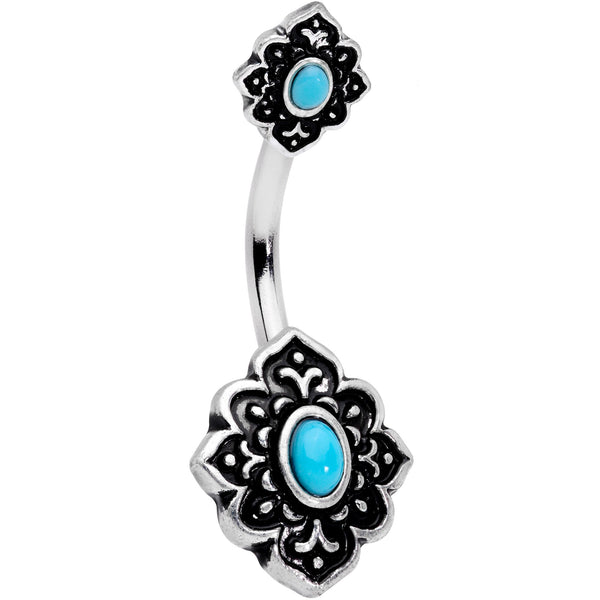 Faux Turquoise Beautiful Baroque Double Mount Belly Ring