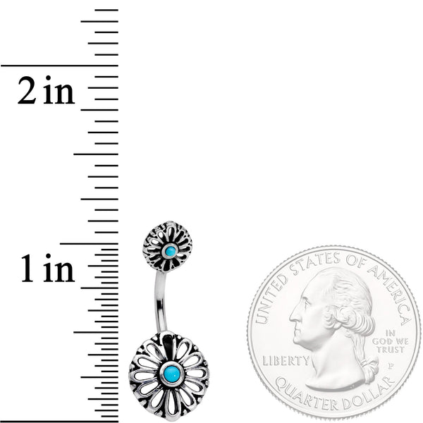 Faux Turquoise Openwork Flower Double Mount Belly Ring
