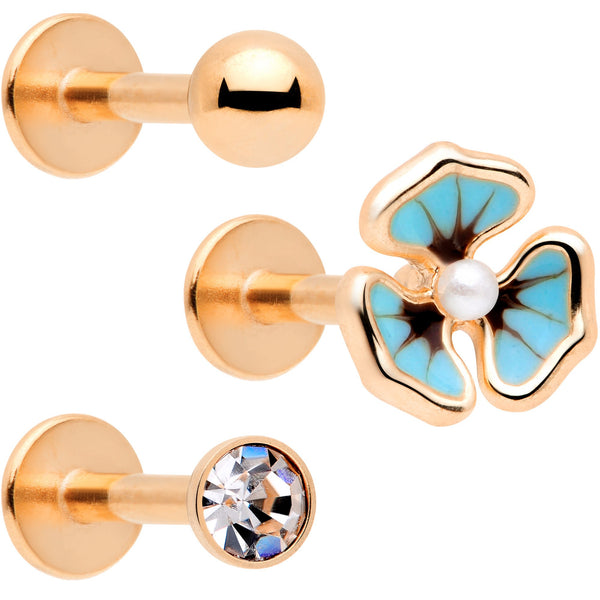16 Gauge 5/16 Clear Gem Rose Gold Tone Blue Pansy Labret Set