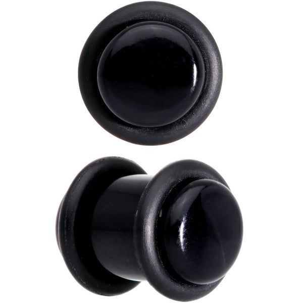0 Gauge Basic Black Acrylic Straight Plug Set