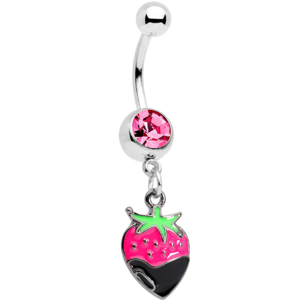Pink Gem Yummy Chocolate Strawberry Dangle Belly Ring