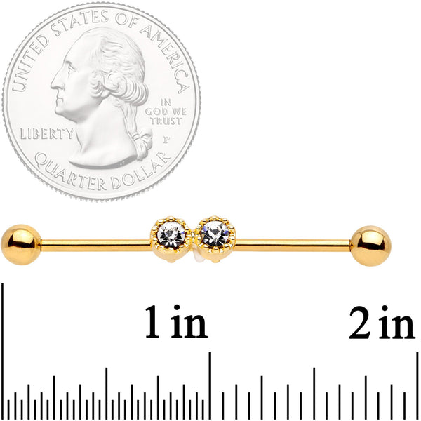 14 Gauge Clear Gem Gold Tone Double Drama Industrial Barbell 38mm