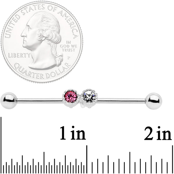 14 Gauge Clear Pink Gem Double Drama Industrial Barbell 38mm