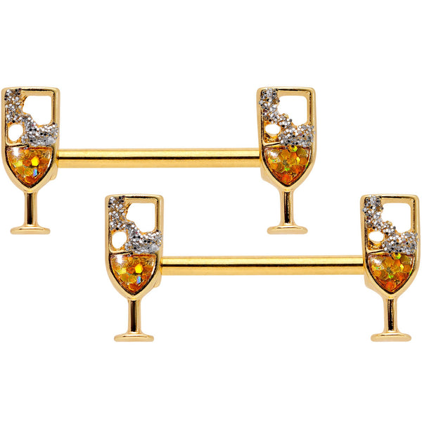 14 Gauge 9/16 Clear Gem Gold Tone Champagne Barbell Nipple Ring Set