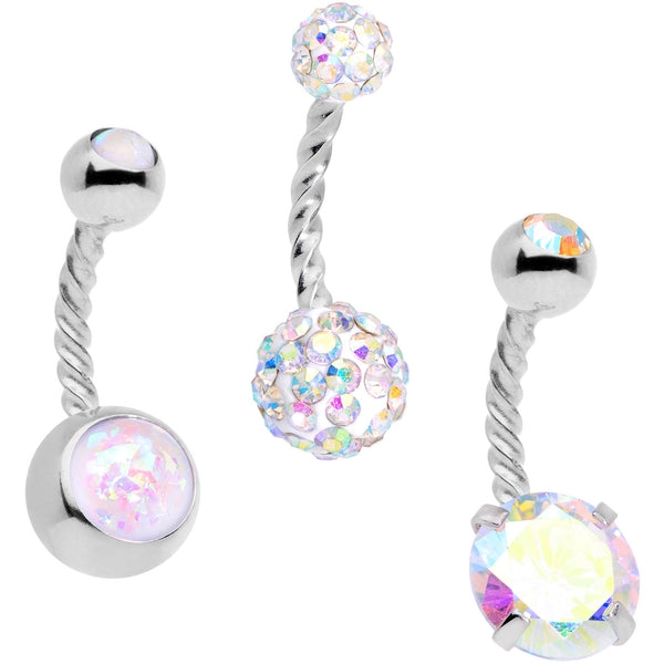Aurora Gem White Faux Opal Disco Ball Twisted Belly Ring Set of 3