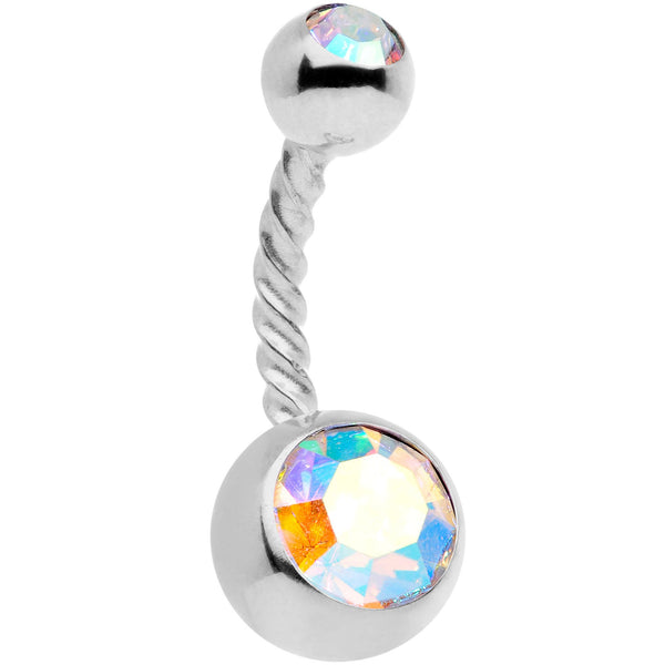 Aurora Gem Disco Ball Twisted Belly Ring Set of 3