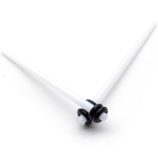 White Acrylic Straight Taper Set Available in Sizes  14 Gauge to 00 Gauge