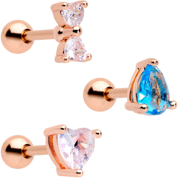 16 Gauge 1/4 Blue Clear CZ Rose Gold Tone Triangle Tragus Set of 3