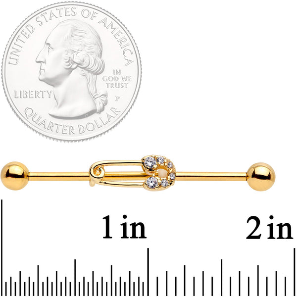 14 Gauge Clear CZ Gem Gold Tone Safety Pin Industrial Barbell 38mm