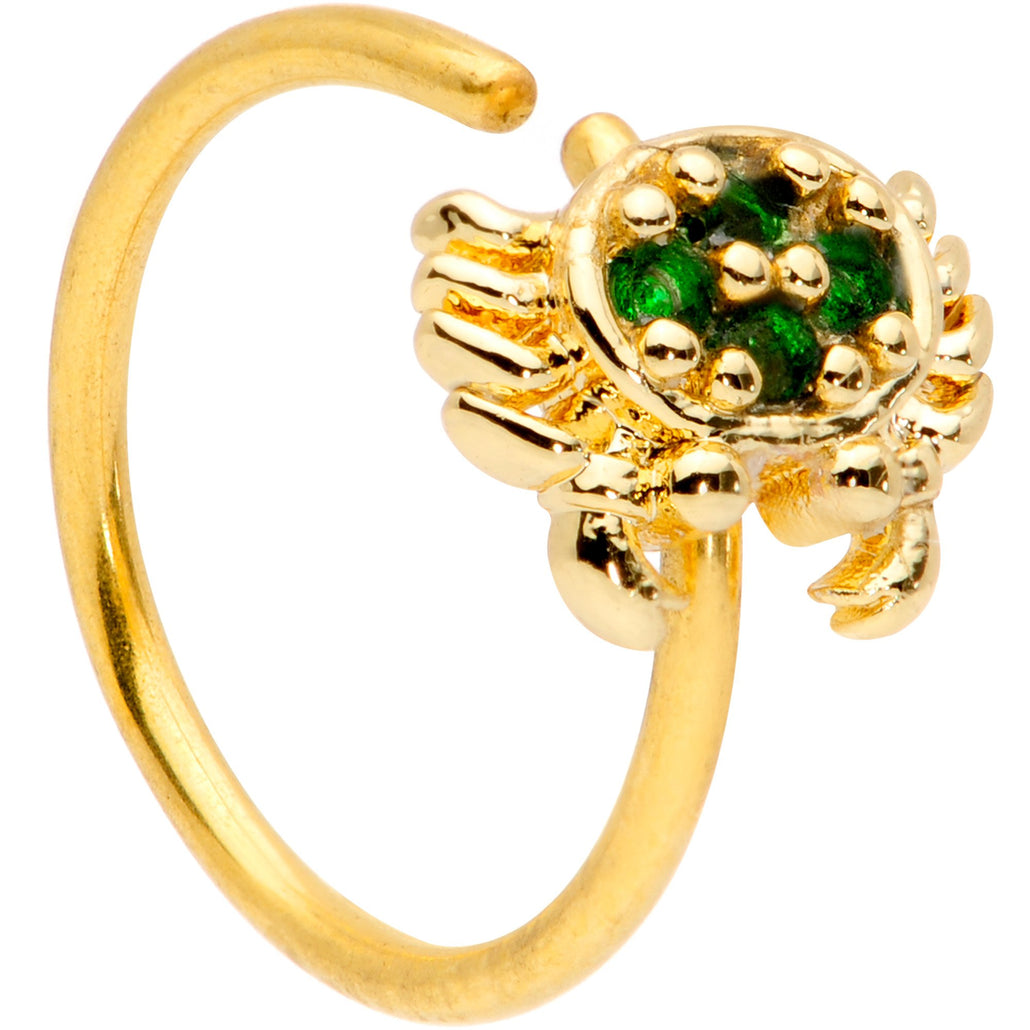 20 Gauge 5/16 Green CZ Gem Gold Tone Nautical Crab Nose Hoop