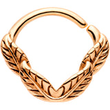 16 Gauge 3/8 Rose Gold Tone Ring of Feathers Closure Ring