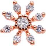 20 Gauge 1/4 Clear CZ Gem Rose Gold Tone Flower L Shaped Nose Ring