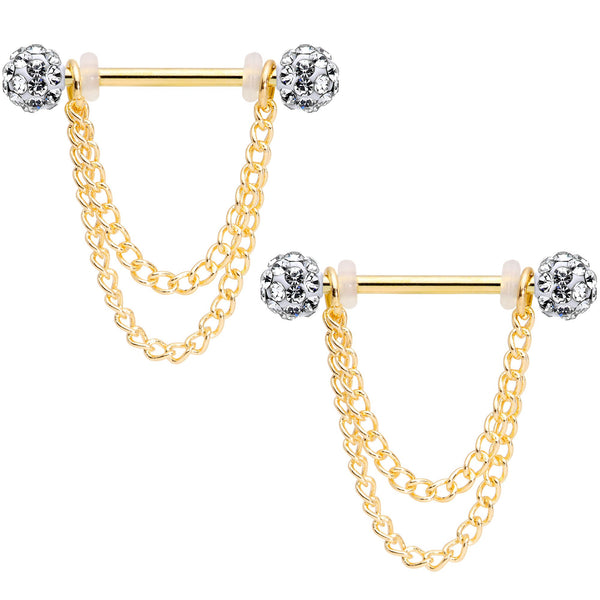 14 Gauge Clear Gem End Gold Tone Chain Dangle Nipple Ring Set
