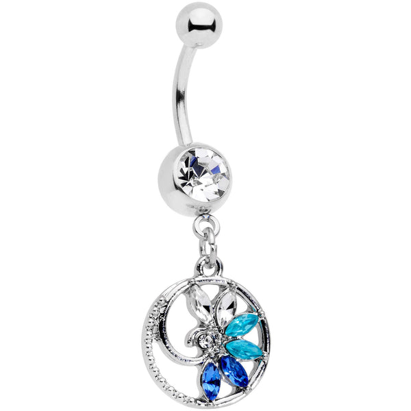 Blue Clear Gem Tropical Flower Swirl Dangle Belly Ring