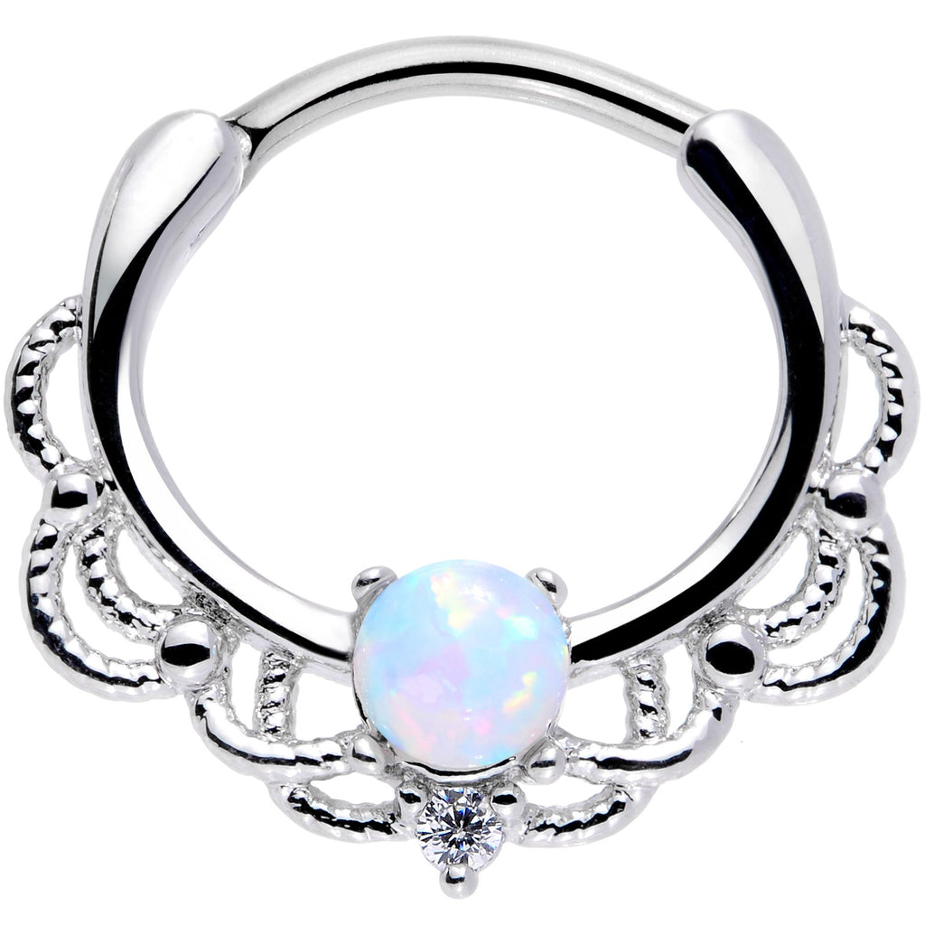 16 Gauge 3 8 White Faux Opal Life Of The Party Septum Clicker Bodycandy