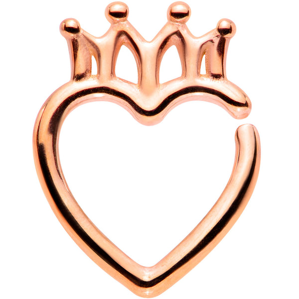 16 Gauge 5/16 Rose Gold Tone Royal Crown Heart Right Ear Closure Ring