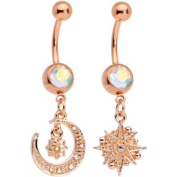 Aurora Gem Rose Gold Tone Celestial Star Moon Dangle Belly Ring Set