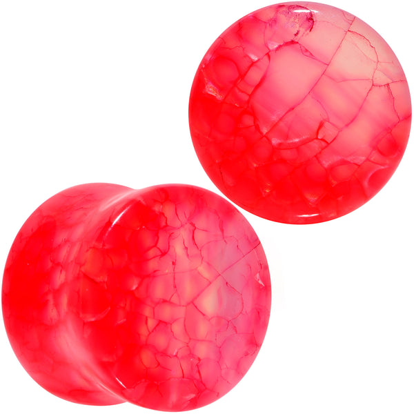 Red Agate Stone Saddle Plug Set Available in Sizes 0 Gauge to 25mm