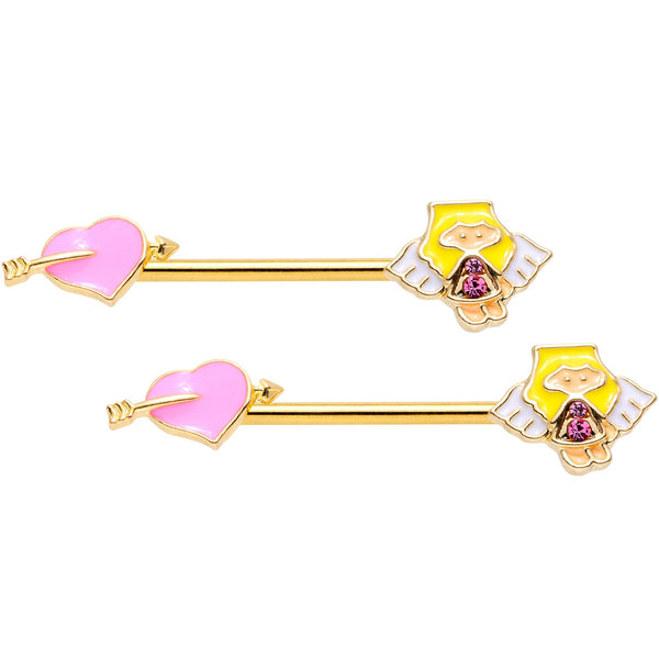 14 Gauge 9/16 Pink Gem Heart Cupid Gold Tone Barbell Nipple Ring Set