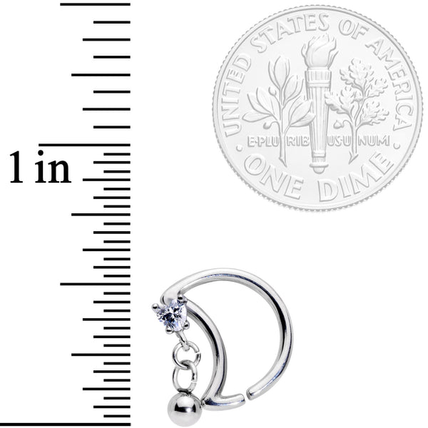 16 Gauge 3/8 Clear CZ Gem Crescent Moon Heart Dangle Closure Ring