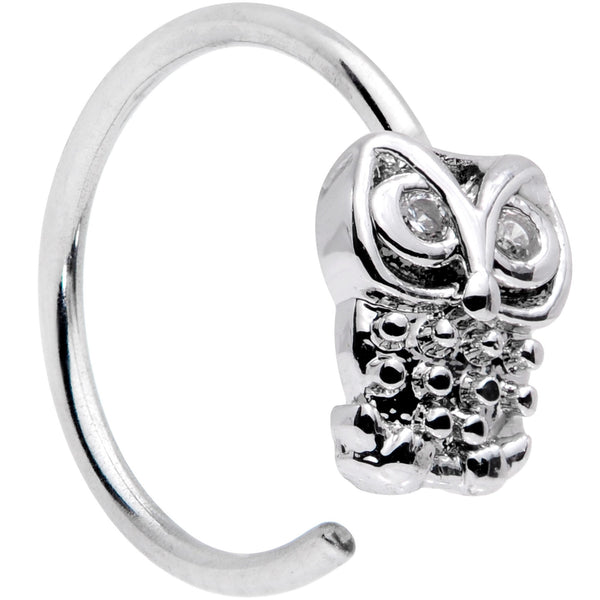 20 Gauge 5/16 Clear CZ Gem All About Owl Nose Hoop
