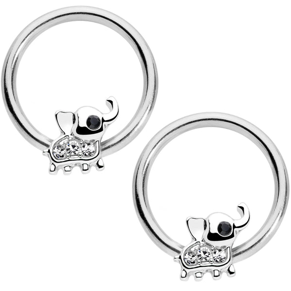 14 Gauge 1/2 Clear Gem Elephant BCR Captive Nipple Ring Set