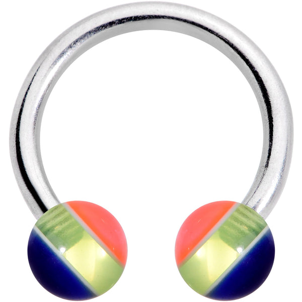 14 Gauge 7/16 Deco Stripe Acrylic Ball Horseshoe Circular Barbell