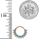 16 Gauge 5/16 Turquoise Rose Gold Tone Western Cartilage Clicker