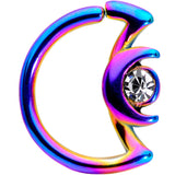 16 Gauge 3/8 Clear Gem Rainbow Crescent Moon Closure Ring