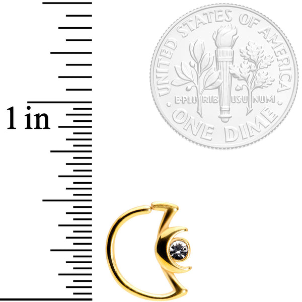 18 Gauge 3/8 Clear Gem Gold Tone Crescent Moon Closure Ring