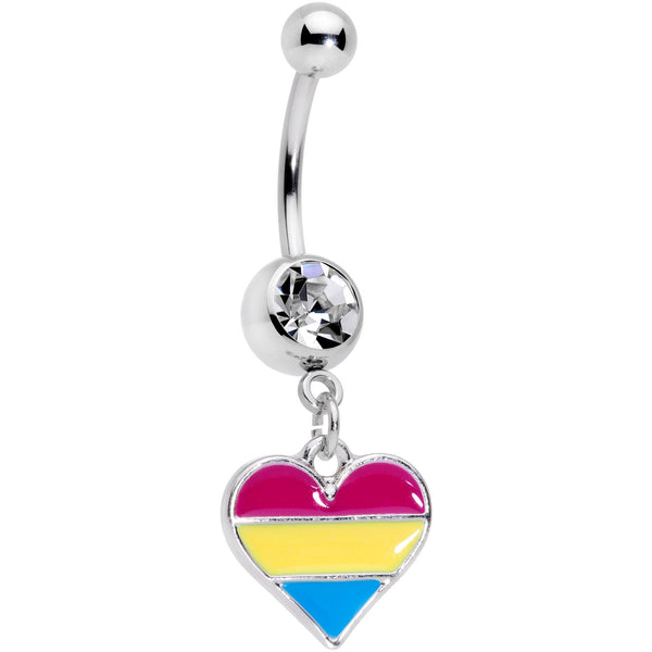 Clear Gem Red Yellow Blue Pansexual Pride Heart Dangle Belly Ring