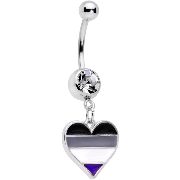 Clear Gem Black Grey White Purple Asexual Pride Heart Belly Ring