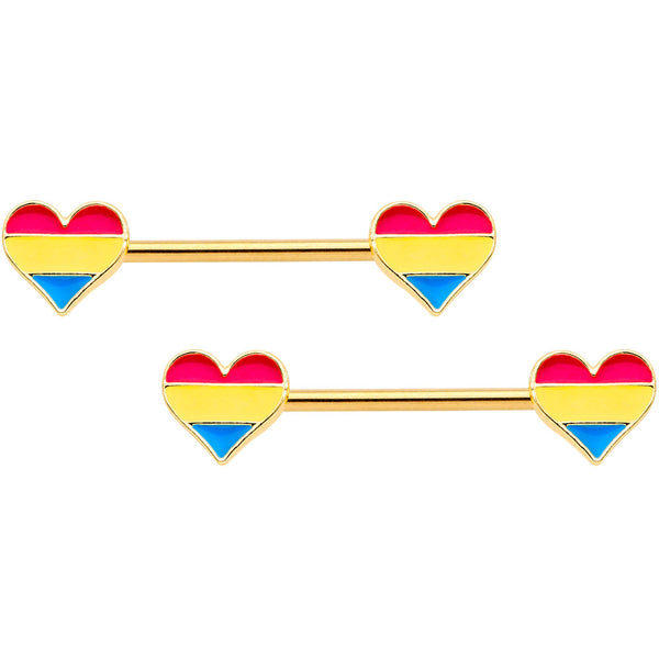 14 Gauge Pansexual Pride Gold Tone Heart Barbell Nipple Ring Set