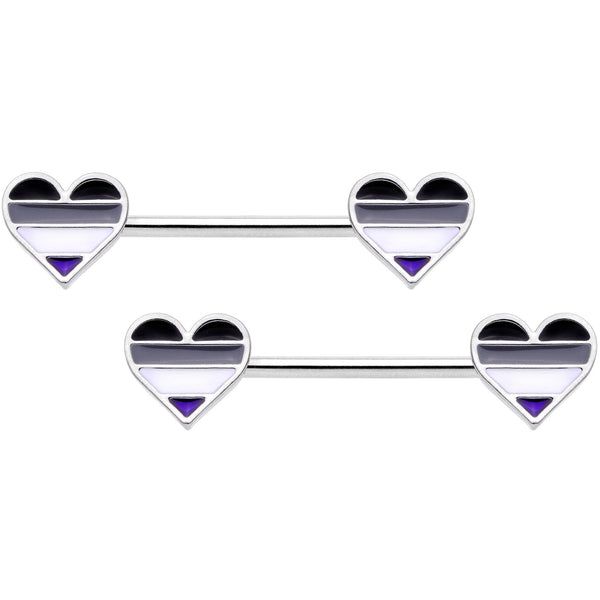 14 Gauge Black Grey White Asexual Pride Heart Barbell Nipple Ring Set