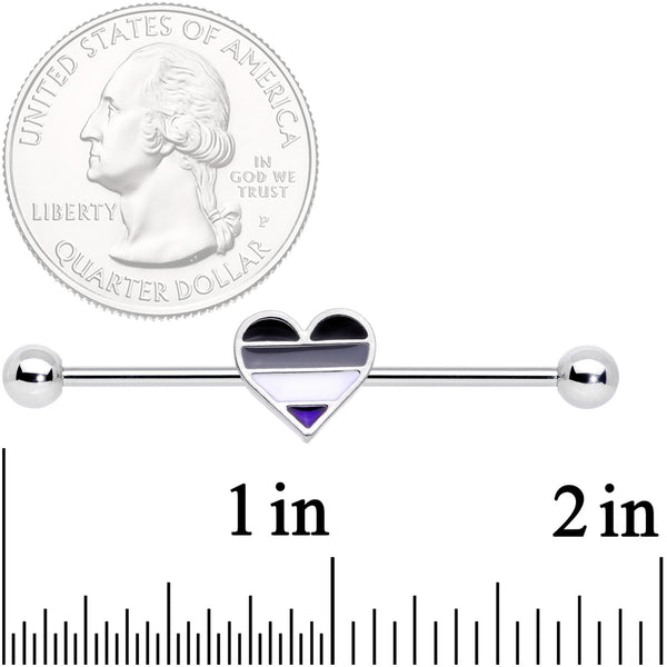 14 Gauge Black Grey White Asexual Pride Heart Barbell Industrial 38mm