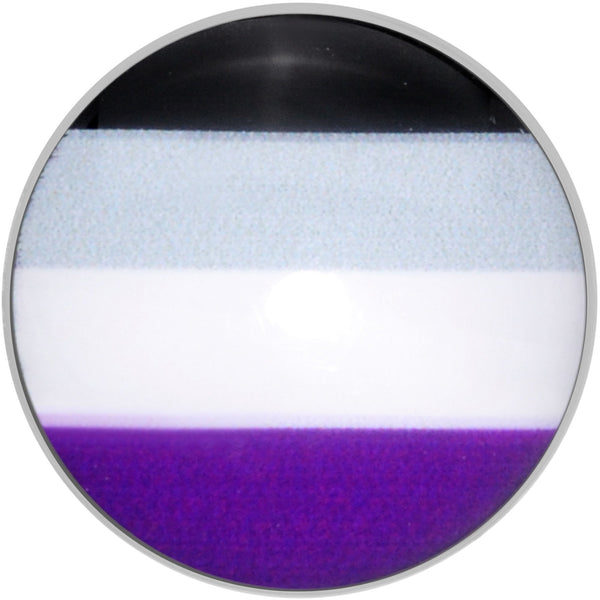 Black Grey White Purple Asexual Pride Flag Barbell Tongue Ring
