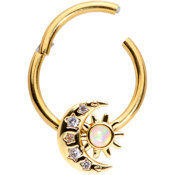 16 Gauge 3/8 White Synthetic Opal Gold Tone Moon Hinged Segment Ring