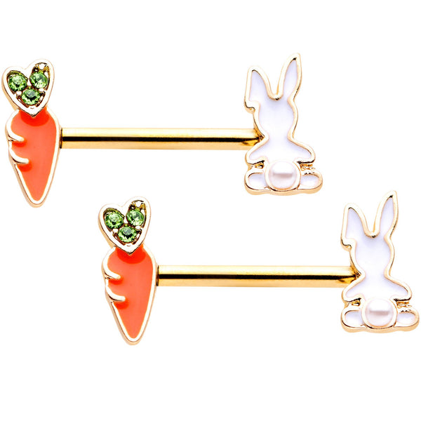 14 Gauge 9/16 Green Gem Gold Tone Bunny Carrot Barbell Nipple Ring Set